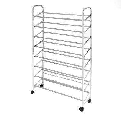 24-Pair Chrome Mobile Shoe Rack