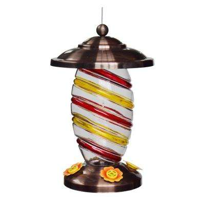 Hand-painted Swirl Glass Hummingbird Feeder