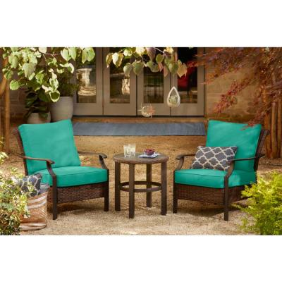 Harper Creek  Brown 3-Piece Steel Outdoor Patio Chair Set with CushionGuard Seaglass Turquoise Cushions