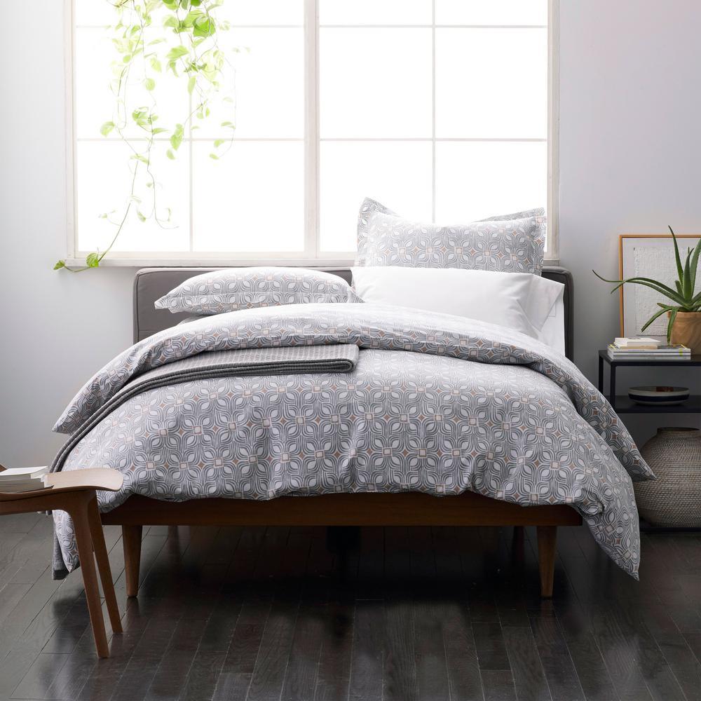 Cowan Multicolored Geometric Organic Cotton Percale Twin Duvet Cover
