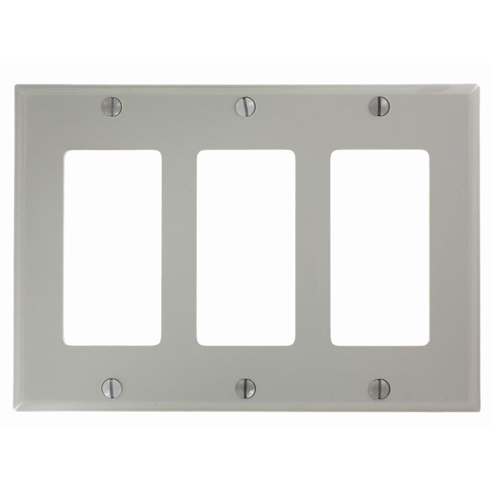3-Gang Decora Nylon Wall Plate, Gray