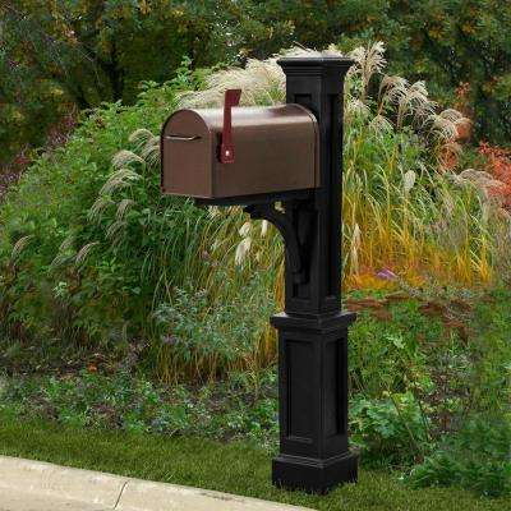 Newport Plus Plastic Mailbox Post, Black