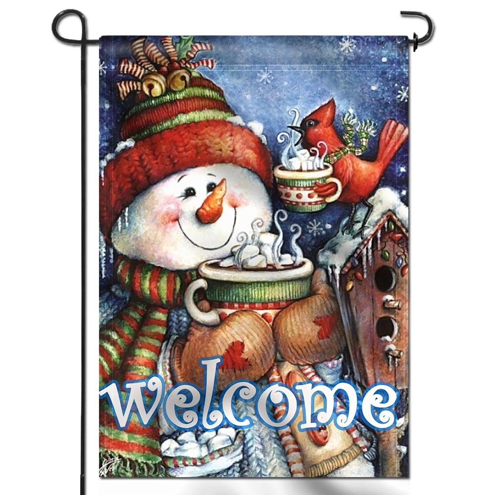 Anley 18 In X 12 5 In Double Sided Premium Welcome Winter Snowman Bird Snowflake Garden Flags Double Stitched A Flag Garden Snowmanbird The Home Depot