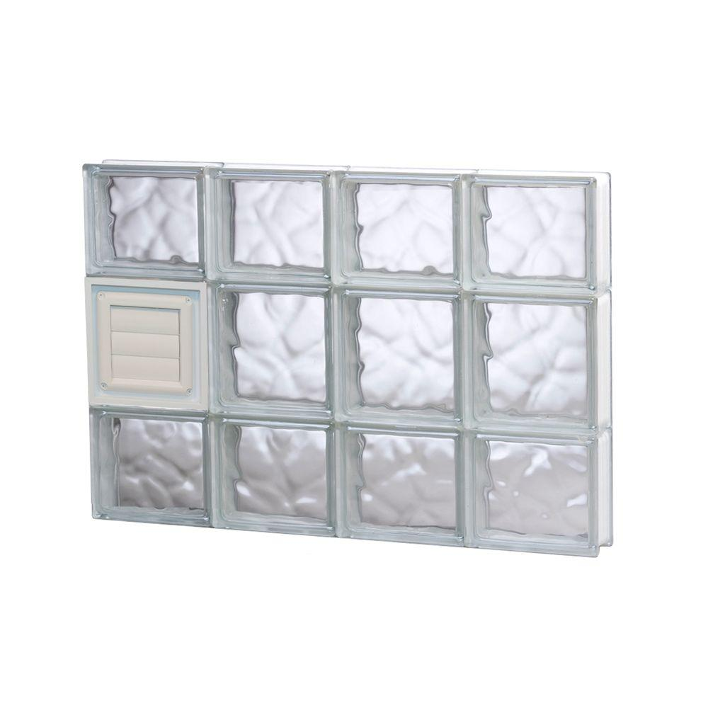 Clearly Secure 31 in. x 19.25 in. x 3.125 in. Frameless Wave Pattern Glass Block Window with Dryer Vent