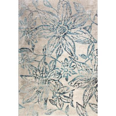 Fusion Floral Blue/Grey 7 ft. x 10 ft. Indoor Area Rug