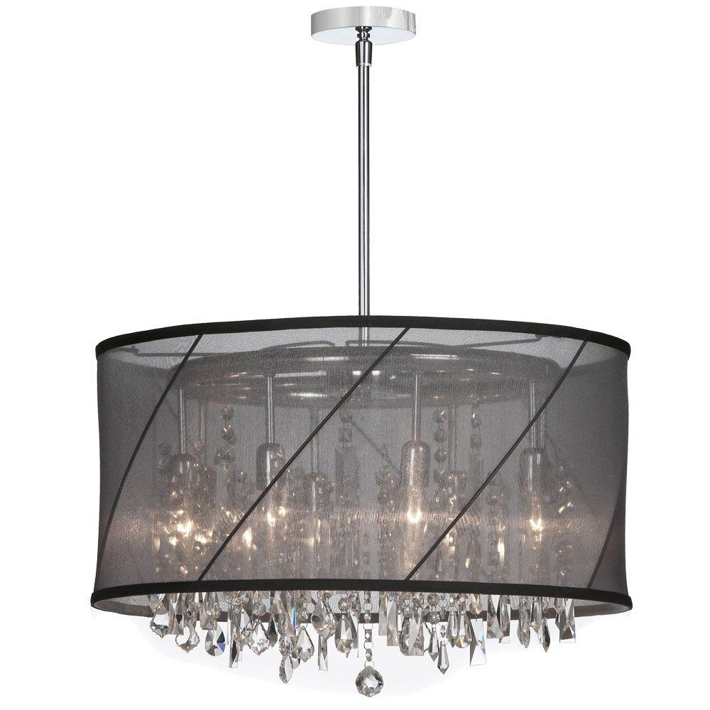 Catherine 8-Light Polished Chrome Incandescent Chandelier with Black Organza Shades