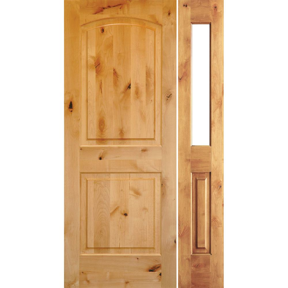 Krosswood Doors 56 in. x 80 in. Rustic Unfinished Knotty Alder Arch-Top Left-Hand Right Half Sidelite Clear Glass Prehung Front Door