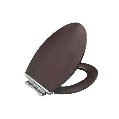 Avantis Elongated Quiet-Close Toilet Seat with Quick-Release Polished Chrome Metal Hinge in Dark Antique Walnut