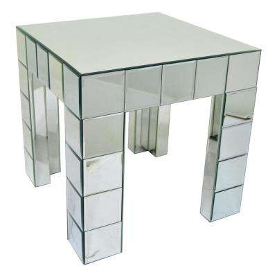19.5 in. Mirrored Table in Silver