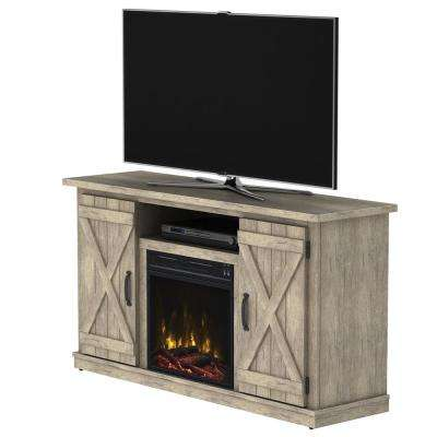 Cottonwood 47.50 in. Media Console Electric Fireplace in Ashland Pine Light Brown