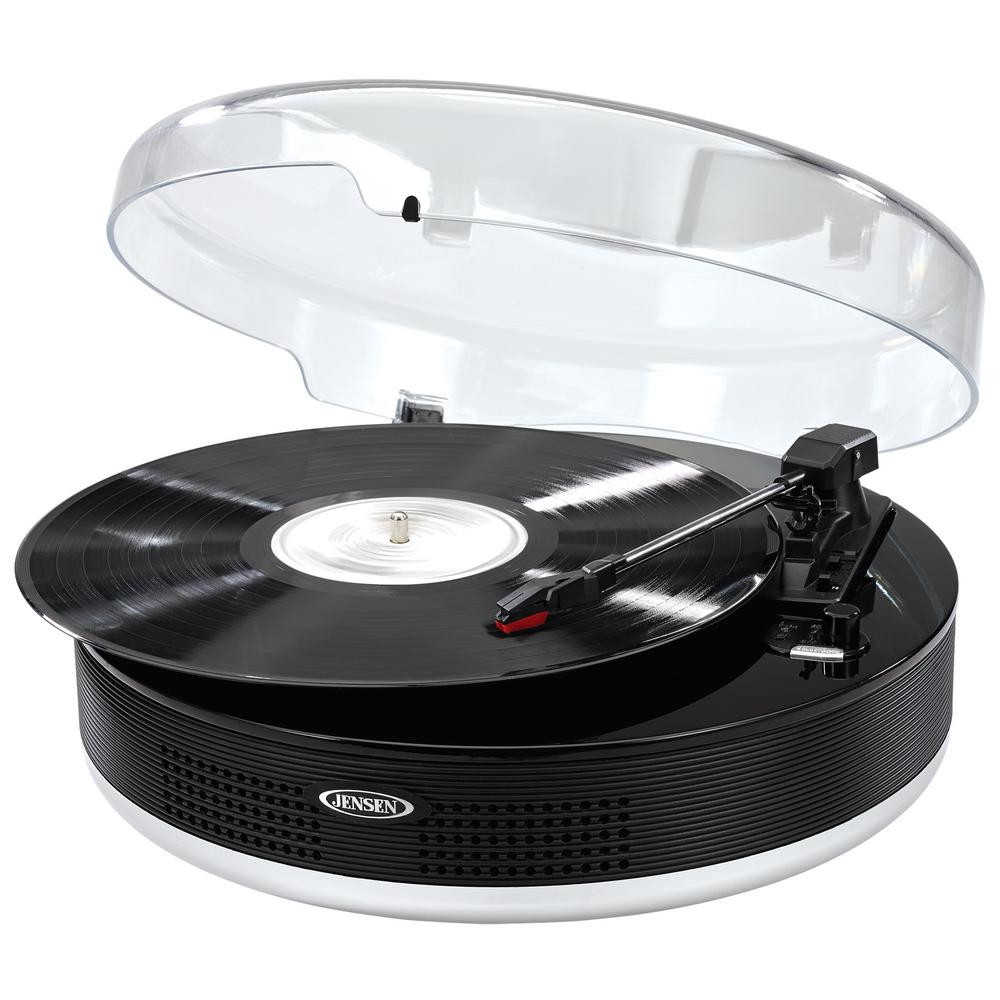 Jensen Bluetooth 3-Speed Stereo Turntable with Metal Tone...