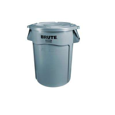 Brute 44 Gal. Grey Round Vented Trash Can with Lid