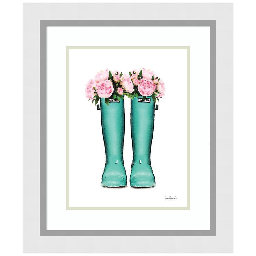 Teal Rain Boots with Peony by Amanda Greenwood Framed Print Wall Art