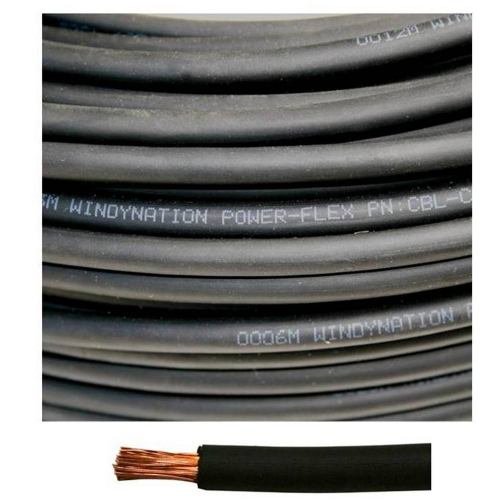 Windynation  Awg 50 Ft Black Welding Battery Pure Copper Flexible Cable