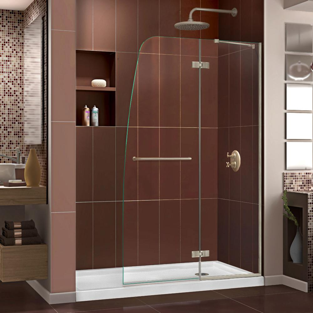 DreamLine Aqua Ultra 34 in. x 60 in. x 74.75 in. Semi-Frameless Hinged Shower Door in Brushed Nickel with Right Drain Acrylic Base