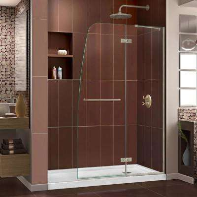 Aqua Ultra 34 in. x 60 in. x 74.75 in. Semi-Frameless Hinged Shower Door in Brushed Nickel with Right Drain Acrylic Base