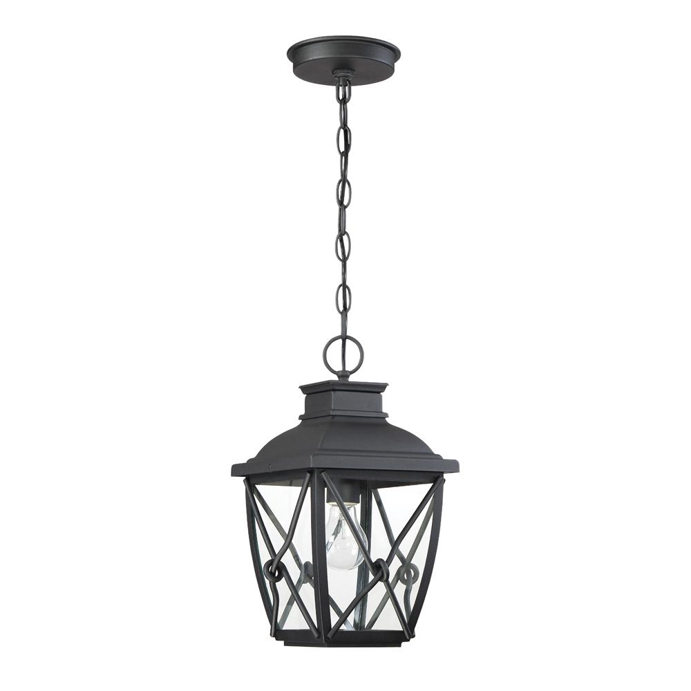 Designers Fountain Belmont 1-Light Black Outdoor Hanging Lantern with Clear Glass Shade