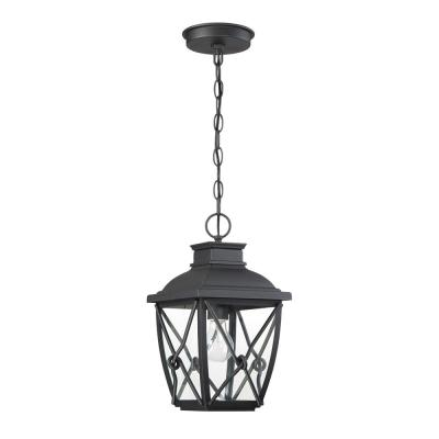 Belmont 1-Light Black Outdoor Hanging Lantern with Clear Glass Shade