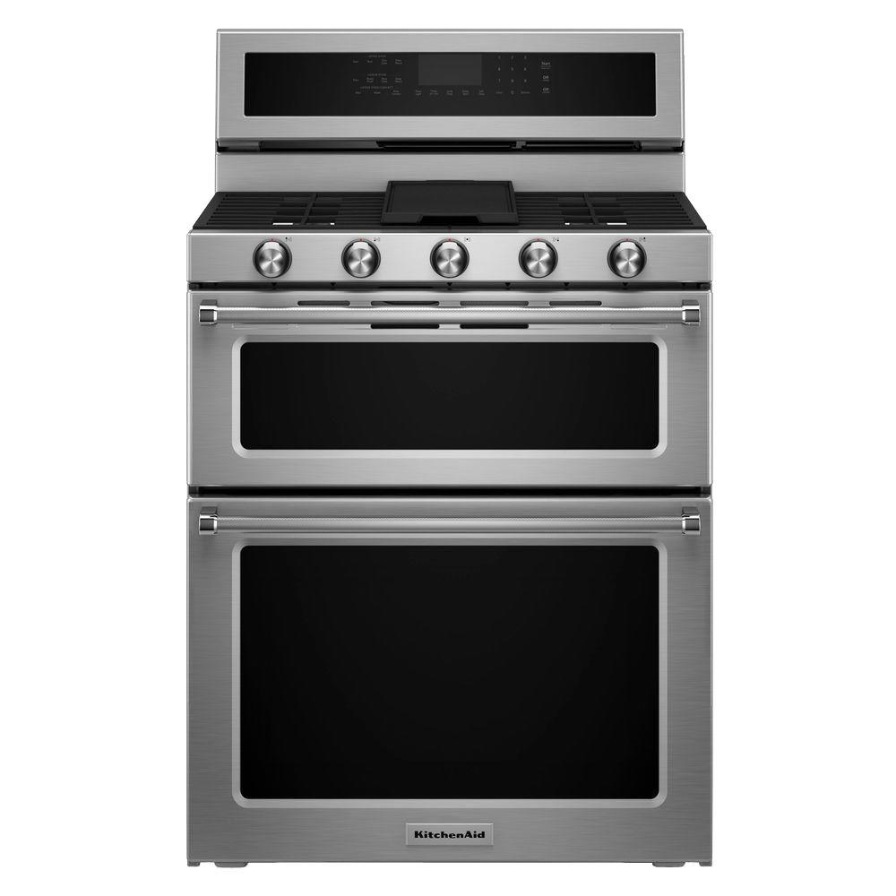 KitchenAid. 6.7 cu. ft. Double Oven Dual Fuel Gas Range with Self-Cleaning Convection Oven in Stainless Steel