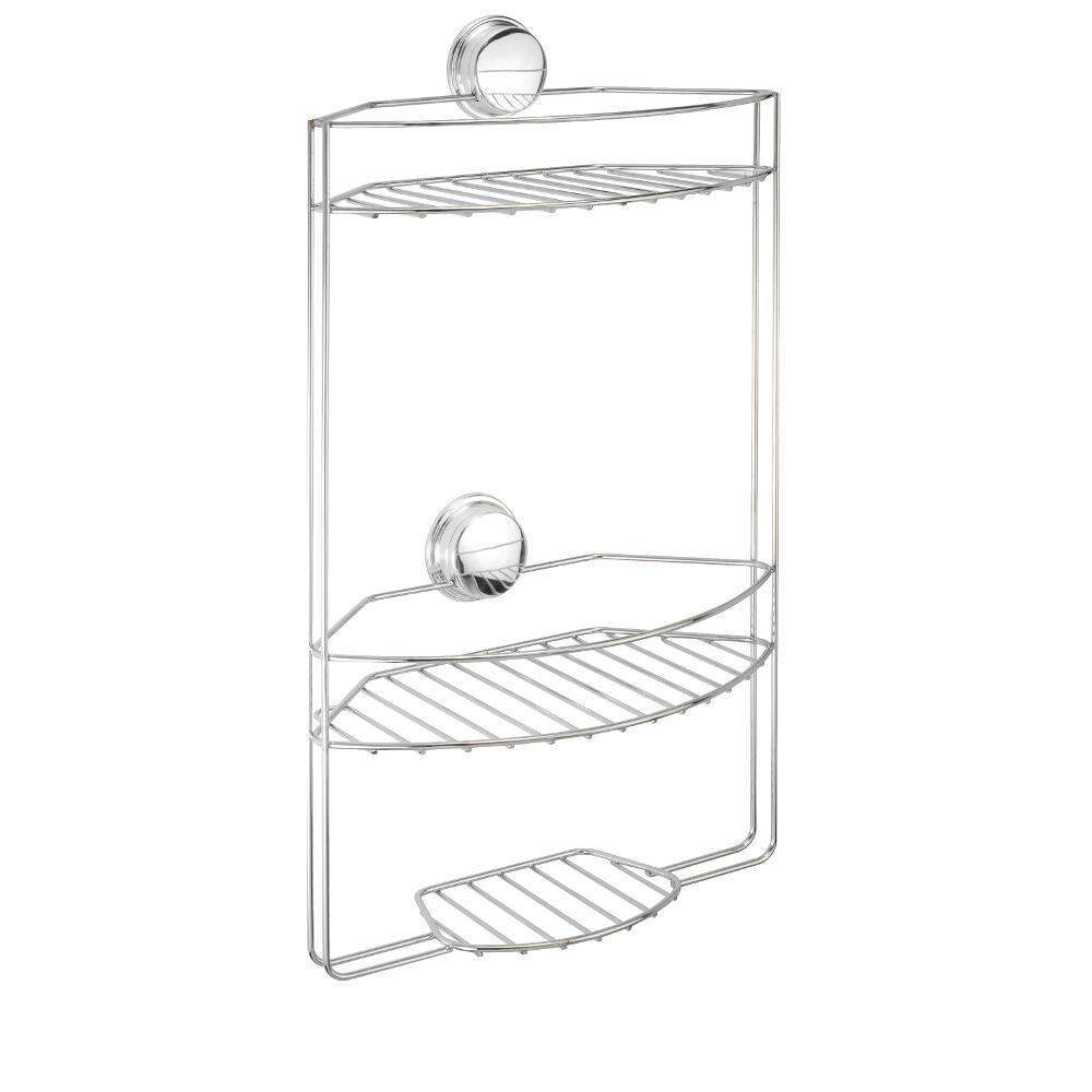 Croydex Twist 'N' Lock Plus 3 Tier Basket in Chrome