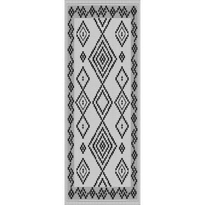Sunshine Collection Grey/Black 3 ft. x 8 ft. Outdoor Patio Runner Rug