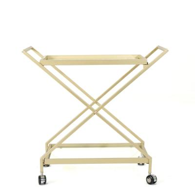 Annika Industrial Gold Iron Patio Serving Cart with Tempered Glass Shelves