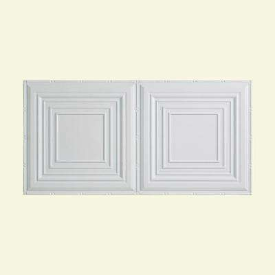 Traditional Style # 3 - 2 ft. x 4 ft. Vinyl Glue-Up Ceiling Tile in Matte White