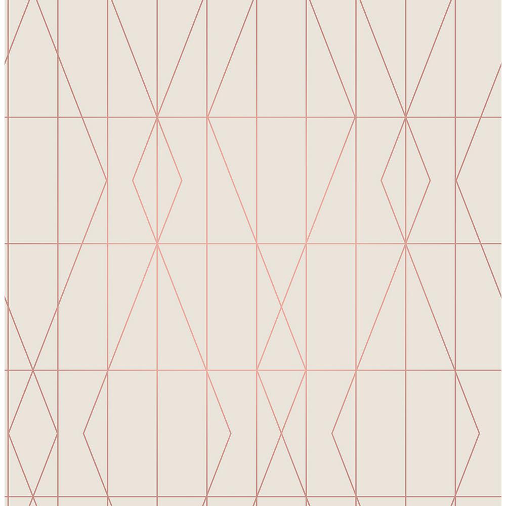 Brewster 56.4 sq. ft. LeVeque Cream Deco Diamond Geo Wallpaper UW24787