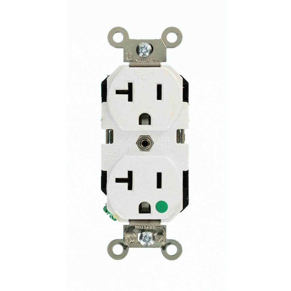 white leviton outlets receptacles 8300 w 64_1000 leviton 20 amp commercial grade double pole single outlet, white  at edmiracle.co