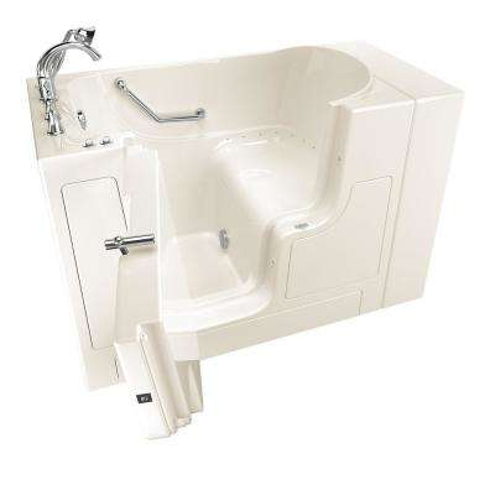 Gelcoat Value Series 52 in. x 30 in. Left Hand Walk-In Air Bathtub with Outward Opening Door in Linen