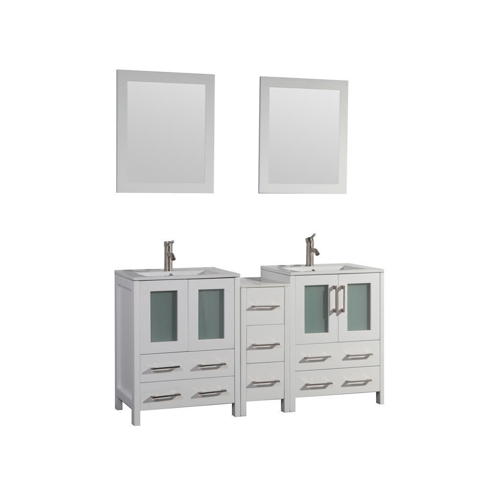 Brescia 60 in. W x 18 in. D x 36 in. H Bath Vanity in White with Vanity Top in White with White Basin and Mirror