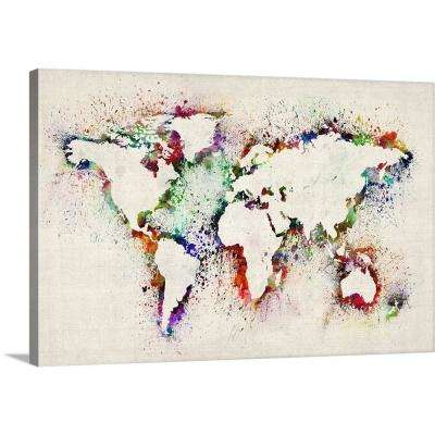 """World Map Splash Outline"" by  Michael Tompsett Canvas Wall Art"