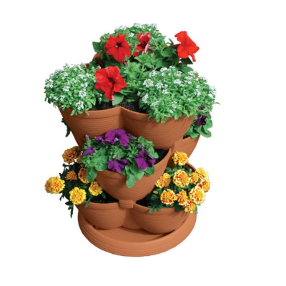 Stack-A-Pot Medium Clay 3-tier 12 in. W x 12 in. D x 24 in. H 30 qt. Stackable Planter