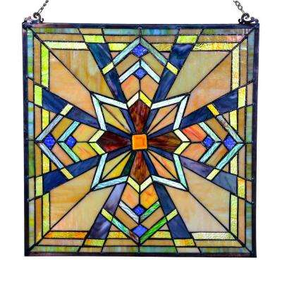 Multi-Colored Stained Glass Northern Star Window Panel