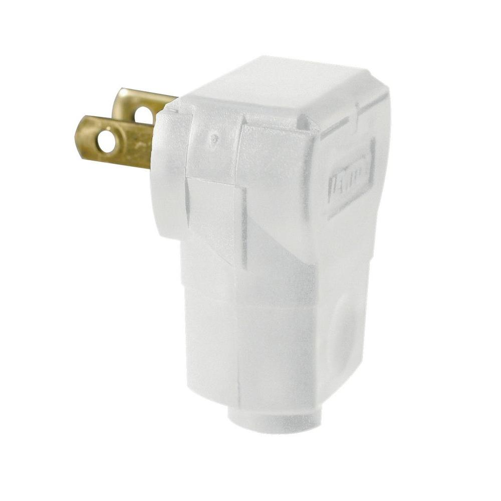 Leviton 15 Amp White Non-Polarized Angle Plug-R52-101AN-00W - The ...