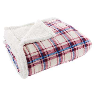 60 in. x 70 in. Red and Blue Plaid Plush Sherpa Fleece Throw
