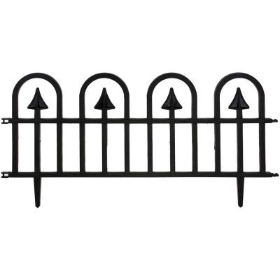 Estate Series 15 in. Plastic Colonial Wrought-Iron Style Border Garden Fencing (5-Pack)