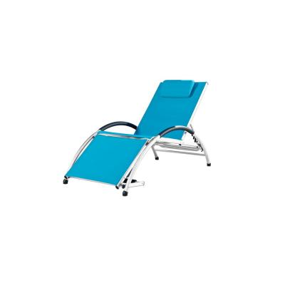 Dockside White Frame Reclining Aluminum Outdoor Lounge Chair in Turquoise