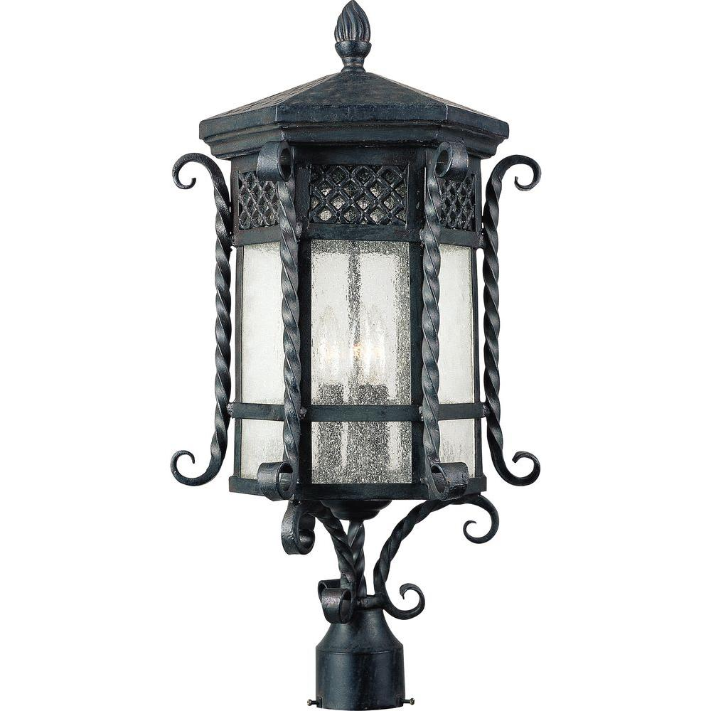 Maxim Lighting Scottsdale 3-Light Country Forge Outdoor Pole/Post Mount Maxim Lighting's Scottsdale Collection is available as an Incandescent version and Energy Efficient series. Scottsdale is a traditional, Mediterranean style collection from Maxim Lighting International in Country Forge finish with Seedy glass. Shop the exterior collection for Pole/Post Lanterns, Wall Lanterns, and Hanging Lanterns.