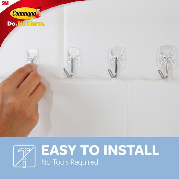 Command - Small Clear Wire Hooks with Clear Strips (9-Pack)