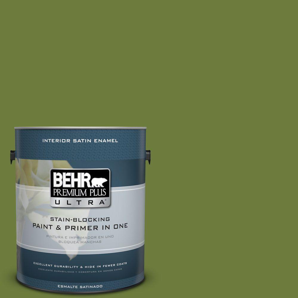 1 gal. #HDC-SM16-11 Hot Dog Relish Satin Enamel Interior Paint