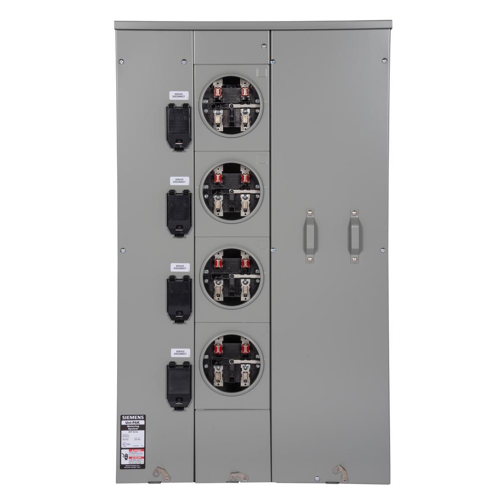 Uni-PAK 4-Gang 225 Amp Tenant Main Breaker Meter Socket