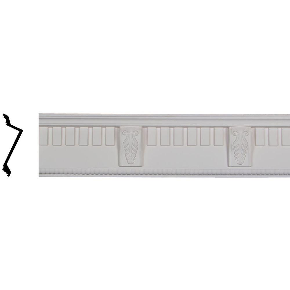 Ekena Millwork 3-7/8 in. x 5-3/4 in. x 95-3/4 in. Polyurethane Dentil with Bead Crown Moulding