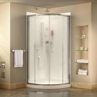 Prime 33 in. x 33 in. x 76.75 in. H Corner Framed Sliding Shower Enclosure in Chrome with Base and Back Walls