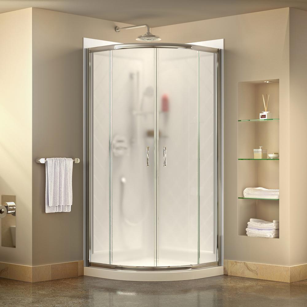 Dreamline Prime 36 In X 76 75 H Corner Framed Sliding Shower Enclosure Chrome With Base And Back Walls