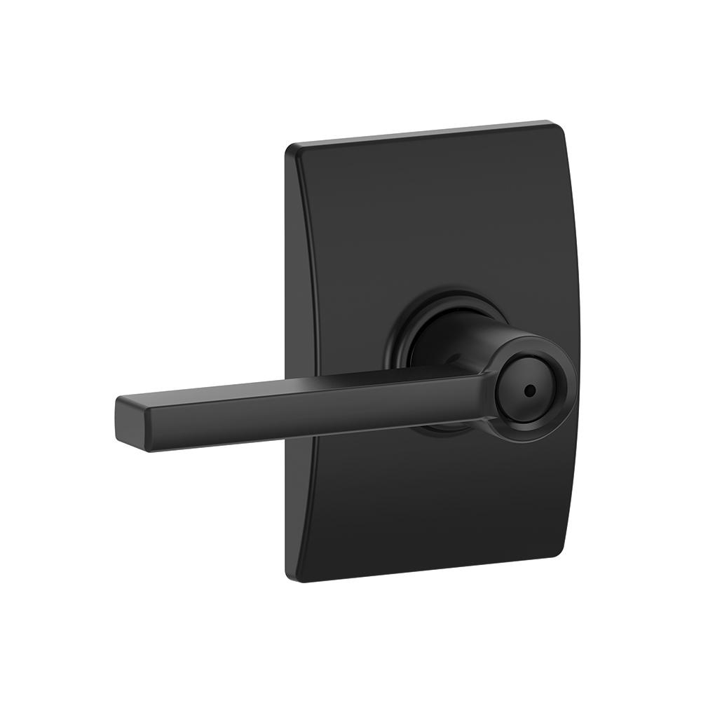 Gentil Latitude Matte Black Privacy Bed/Bath Door Lever With Century Trim