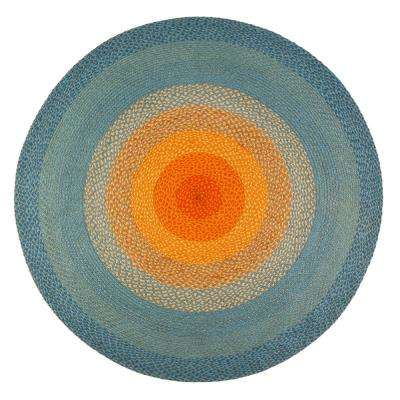 Olwyn Braided Multi-Colored 4 ft. Round Area Rug