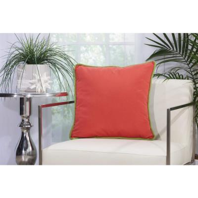 Corded Coral and Navy Solid Stain Resistant Polyester 20 in. x 20 in. Throw Pillow