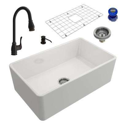 Classico All-in-One Farmhouse Fireclay 30 in. Single Bowl Kitchen Sink with Belsena Rubbed Bronze Faucet and Soap Disp