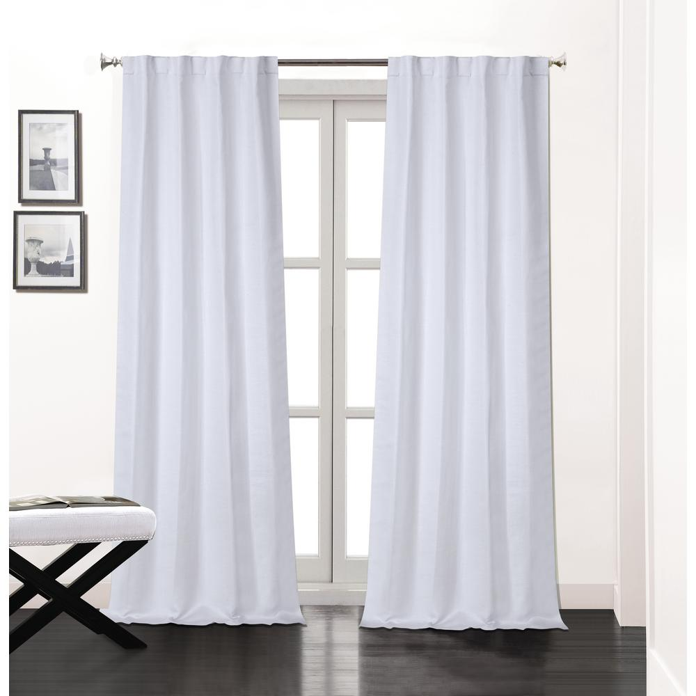 L Polyester Double Layer Lined Rod Pocket Window Curtain Panel Pair In White 2 Pack
